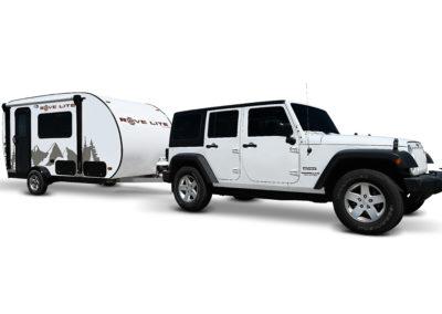 White jeep hauling rove lite trailer